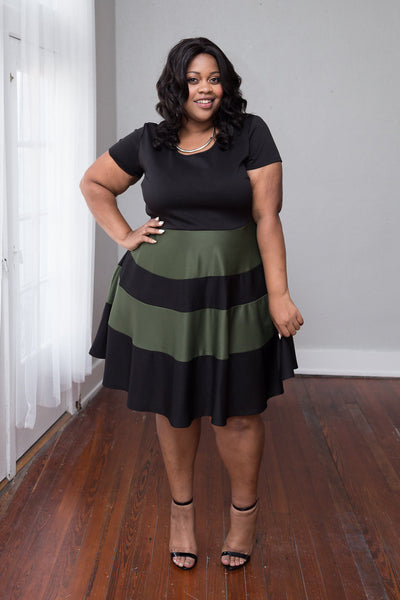 Plus Size Clothing for Women - Taryn Stripe Skater Dress - Black/Olive - Society+ - Society Plus - Buy Online Now! - 1