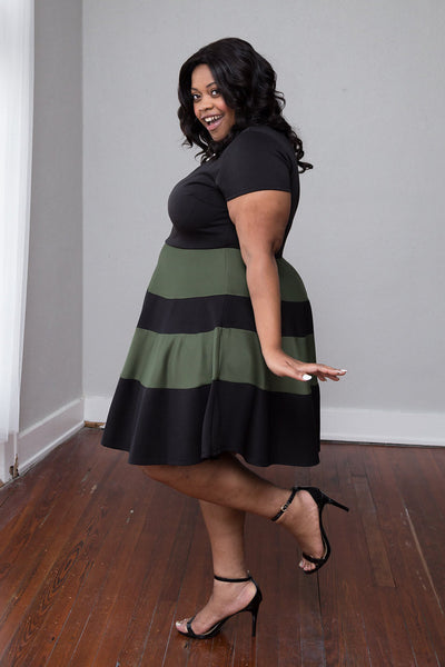 Plus Size Clothing for Women - Taryn Stripe Skater Dress - Black/Olive - Society+ - Society Plus - Buy Online Now! - 2