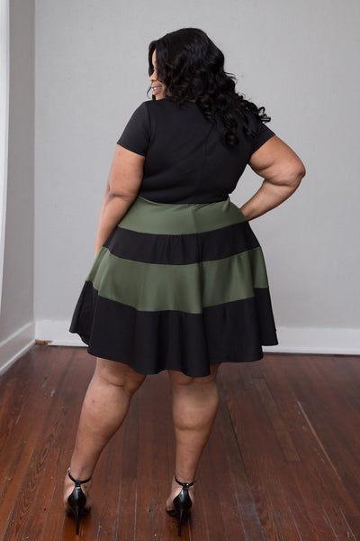 Plus Size Clothing for Women - Taryn Stripe Skater Dress - Black/Olive - Society+ - Society Plus - Buy Online Now! - 3