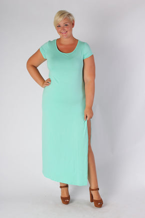 Plus Size Clothing for Women - Side Slit Maxi Dress - Mint - Society+ - Society Plus - Buy Online Now! - 1