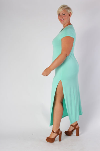 Plus Size Clothing for Women - Side Slit Maxi Dress - Mint - Society+ - Society Plus - Buy Online Now! - 2