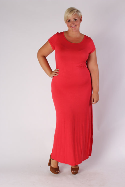 Plus Size Clothing for Women - Side Slit Maxi Dress - Red - Society+ - Society Plus - Buy Online Now! - 1