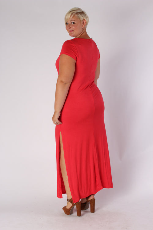 Plus Size Clothing for Women - Side Slit Maxi Dress - Red - Society+ - Society Plus - Buy Online Now! - 2