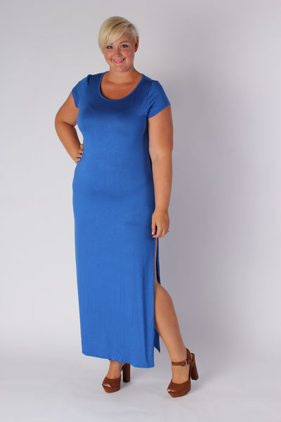 Plus Size Clothing for Women - Side Slit Maxi Dress - Blue - Society+ - Society Plus - Buy Online Now! - 1