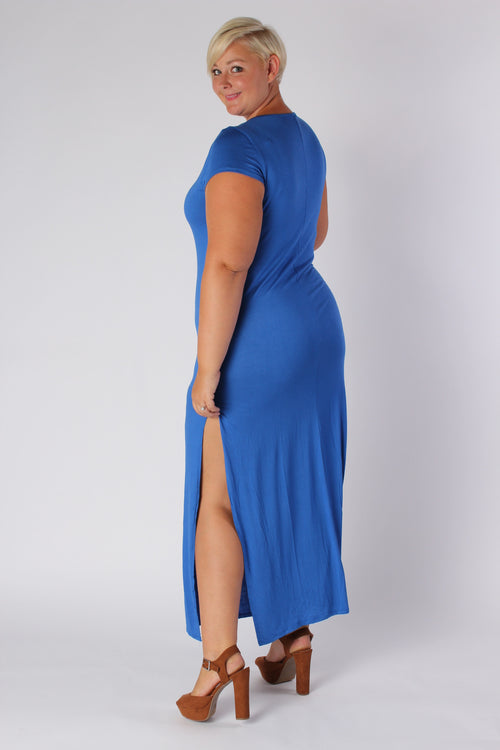 Plus Size Clothing for Women - Side Slit Maxi Dress - Blue - Society+ - Society Plus - Buy Online Now! - 2