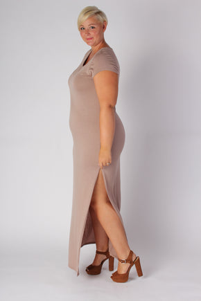 Plus Size Clothing for Women - Side Slit Maxi Dress - Mocha - Society+ - Society Plus - Buy Online Now! - 1