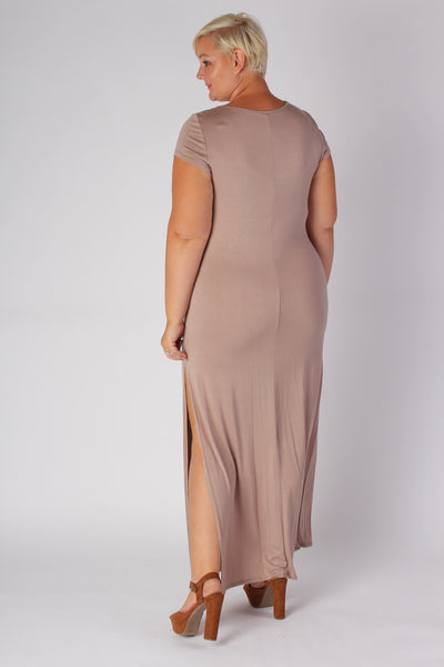 Plus Size Clothing for Women - Side Slit Maxi Dress - Mocha - Society+ - Society Plus - Buy Online Now! - 2