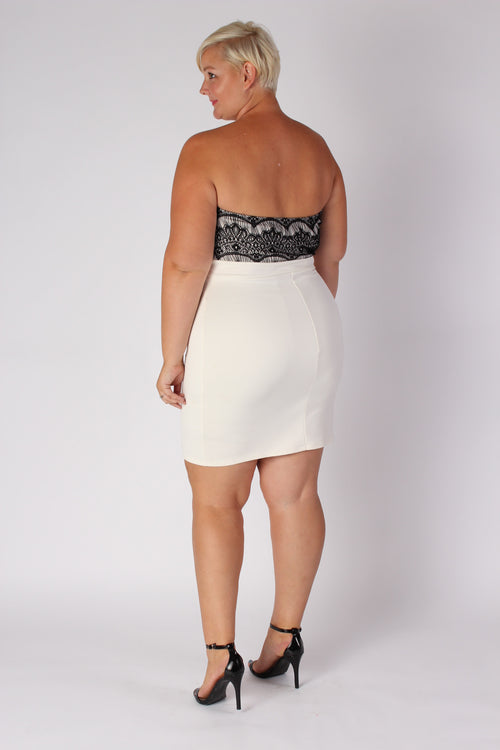 Plus Size Clothing for Women - Strapless Fitted Dress - Ivory - Society+ - Society Plus - Buy Online Now! - 2