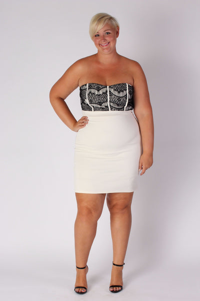 Plus Size Clothing for Women - Strapless Fitted Dress - Ivory - Society+ - Society Plus - Buy Online Now! - 1