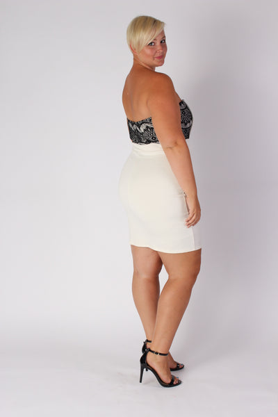 Plus Size Clothing for Women - Strapless Fitted Dress - Ivory - Society+ - Society Plus - Buy Online Now! - 3