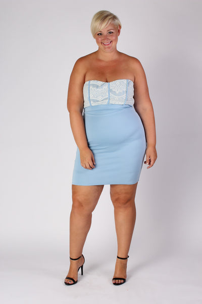Plus Size Clothing for Women - Strapless Fitted Dress - Light Blue - Society+ - Society Plus - Buy Online Now! - 1