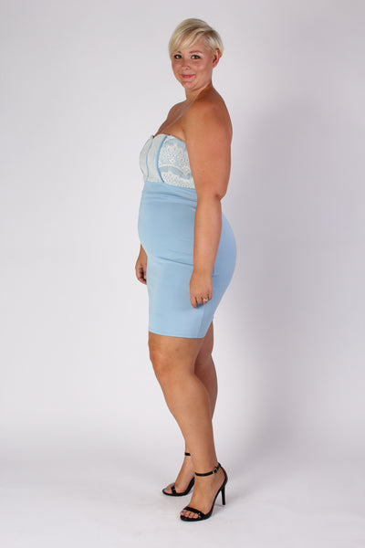 Plus Size Clothing for Women - Strapless Fitted Dress - Light Blue - Society+ - Society Plus - Buy Online Now! - 3