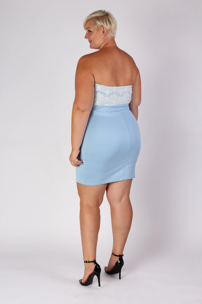 Plus Size Clothing for Women - Strapless Fitted Dress - Light Blue - Society+ - Society Plus - Buy Online Now! - 2