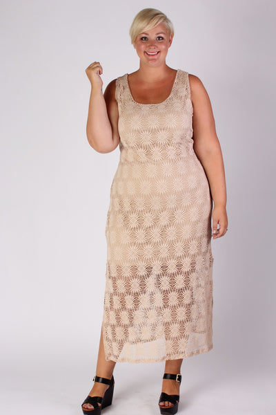 Plus Size Clothing for Women - Crochet Pattern Maxi Dress - Society+ - Society Plus - Buy Online Now! - 1
