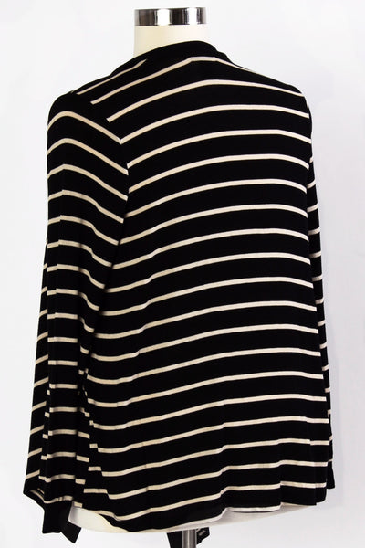 Plus Size Clothing for Women - Isabella Striped Waterfall Cardi - Black/Tan - Society+ - Society Plus - Buy Online Now! - 2
