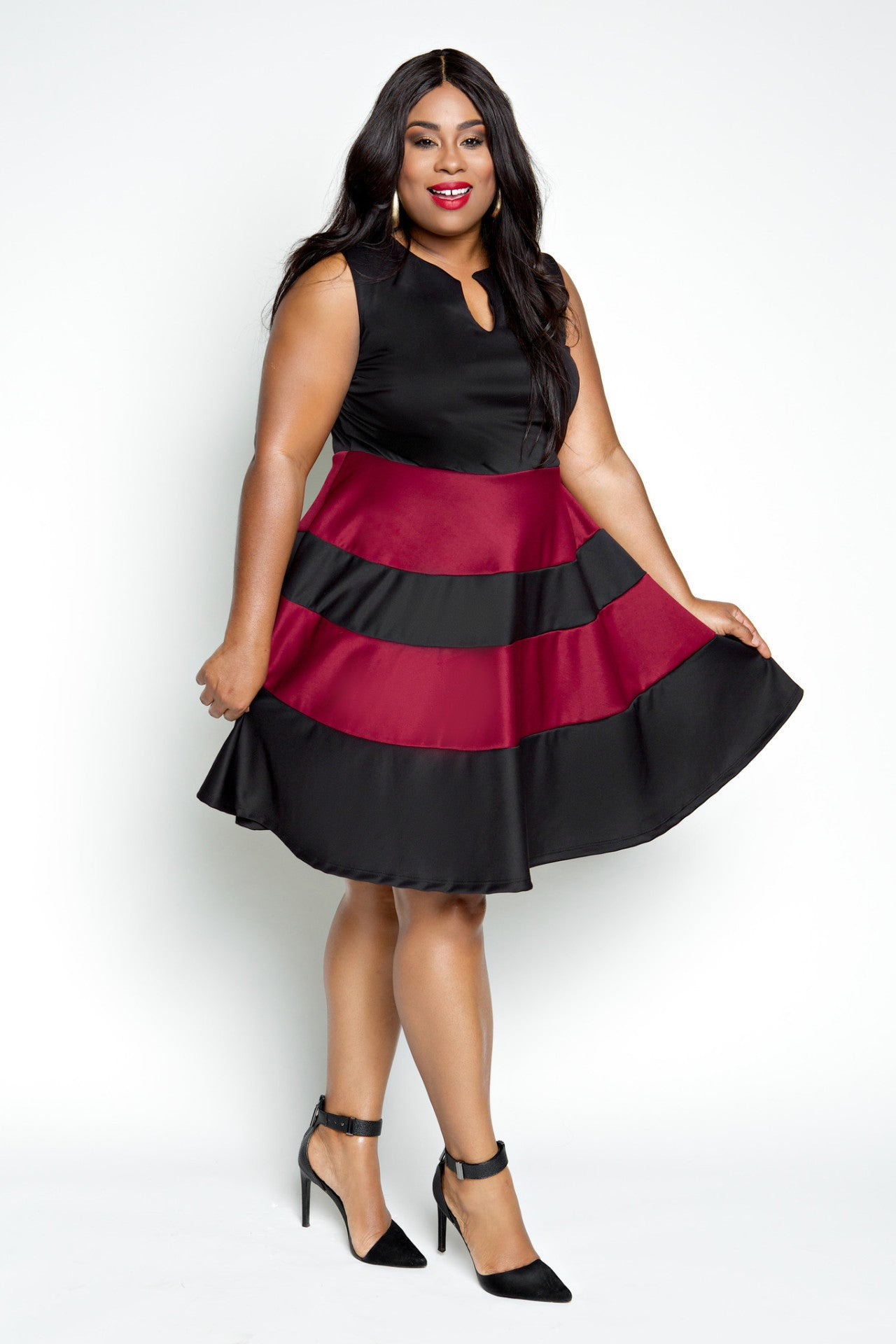 After the sell out of her last skater dress, Jessica has created three more perfect for fall layering. Available in 3 colors. Made of scuba like fabric with nice stretch and wrinkle proof! If you get hot easily, layer a blazer over this perfect dress for fall like Jessica! Fabric 95% Polyester, 5% Spandex