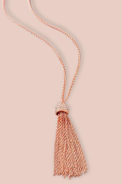 Rose Chain Tassle Necklace