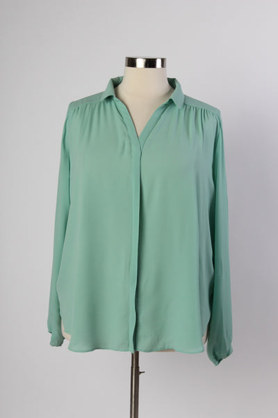 Plus Size Clothing for Women - Mary Tyler Button-Up Blouse - Sage - Society+ - Society Plus - Buy Online Now! - 2