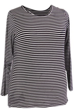 Miss Audrey Long Sleeve Top - Navy/White