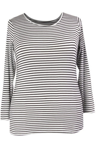 Miss Audrey Long Sleeve Top - White/Black