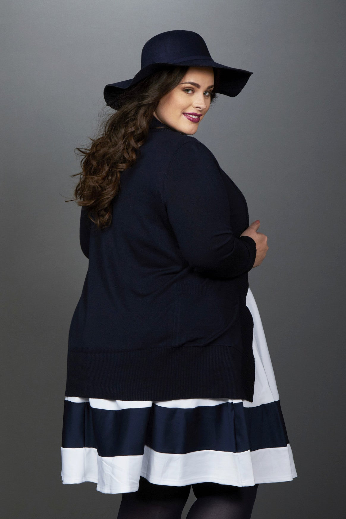 Plus Size Clothing for Women - You, Me, & A Cup of Tea Cardi - Navy - DO NOT MAKE LIVE - Society+ - Society Plus - Buy Online Now! - 3