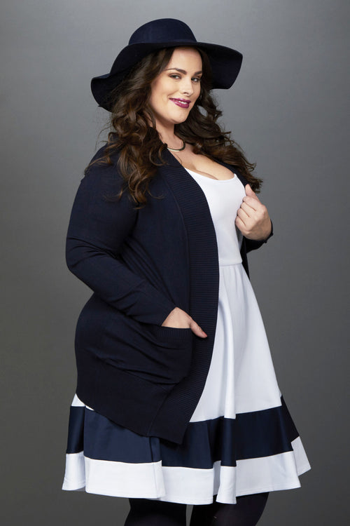 Plus Size Clothing for Women - You, Me, & A Cup of Tea Cardi - Navy - DO NOT MAKE LIVE - Society+ - Society Plus - Buy Online Now! - 2
