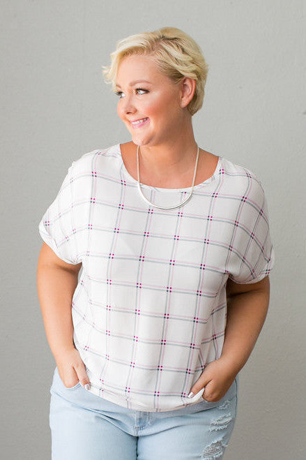 Plus Size Clothing for Women - Country Skylight Top - Ivory/Magenta - Society+ - Society Plus - Buy Online Now! - 1
