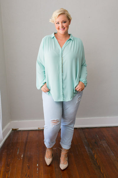 Plus Size Clothing for Women - Mary Tyler Button-Up Blouse - Sage - Society+ - Society Plus - Buy Online Now! - 1