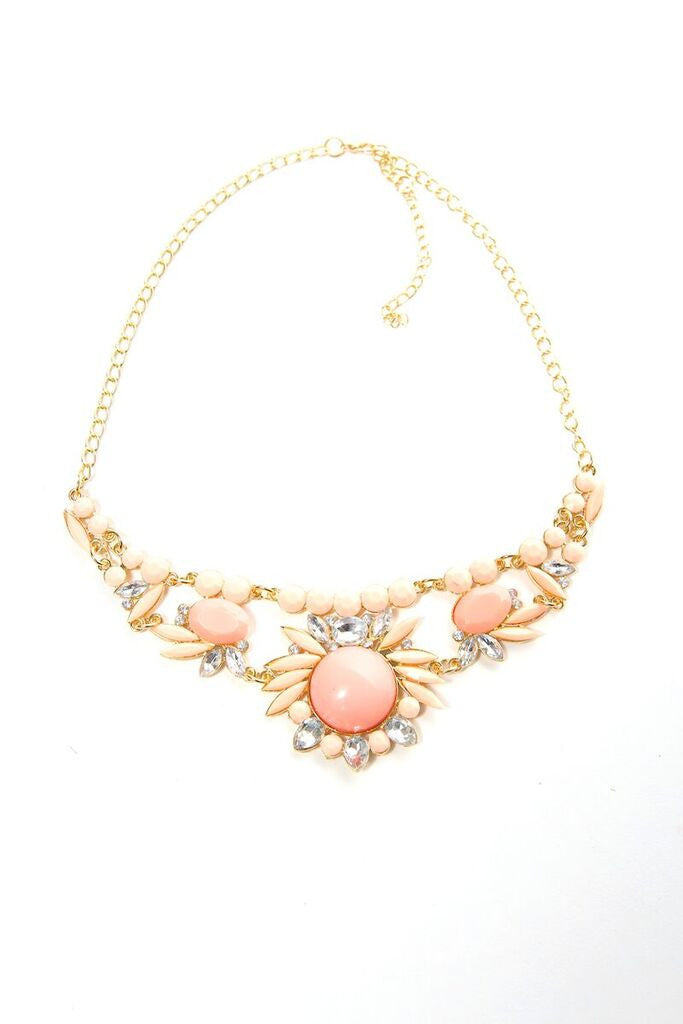 Peach Crystal Statement Necklace