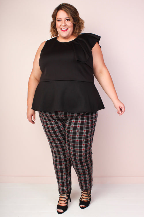 Red & Black Plaid Leggings