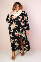 A-line V-neck Long Sleeves Flowy Faux Wrap Slit Elasticized Waistline Floral Print Maxi Dress