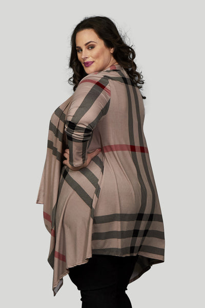 Pippa Plaid Waterfall Cardigan - Taupe/Black