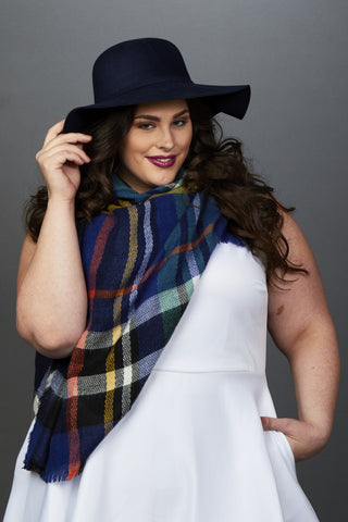 Plus Size Clothing for Women - Sienna Plaid Square Scarf - Society+ - Society Plus - Buy Online Now! - 1