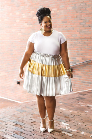 Plus Size Clothing for Women - Jessica Kane Silver/Gold Pleated Skirt - Society+ - Society Plus - Buy Online Now! - 1