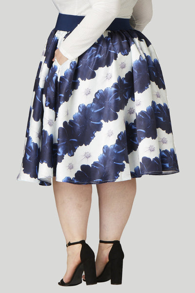 Soiree Midi Skirt - Blue/White Floral Stripe