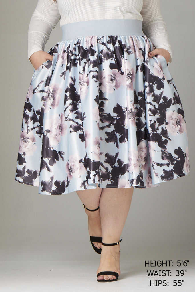 Plus Size Clothing for Women - Soiree Midi Skirt - Light Blue/Pink Floral - Society+ - Society Plus - Buy Online Now! - 1