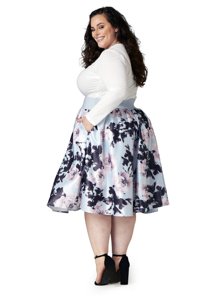 Plus Size Clothing for Women - Soiree Midi Skirt - Silver/Pink Floral - Society+ - Society Plus - Buy Online Now! - 4