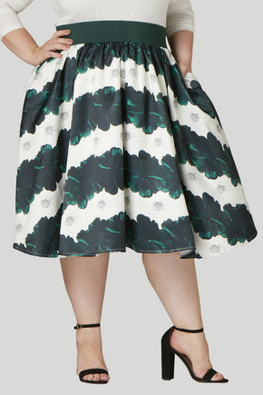 Soiree Midi Skirt - Emerald/White Floral Stripe