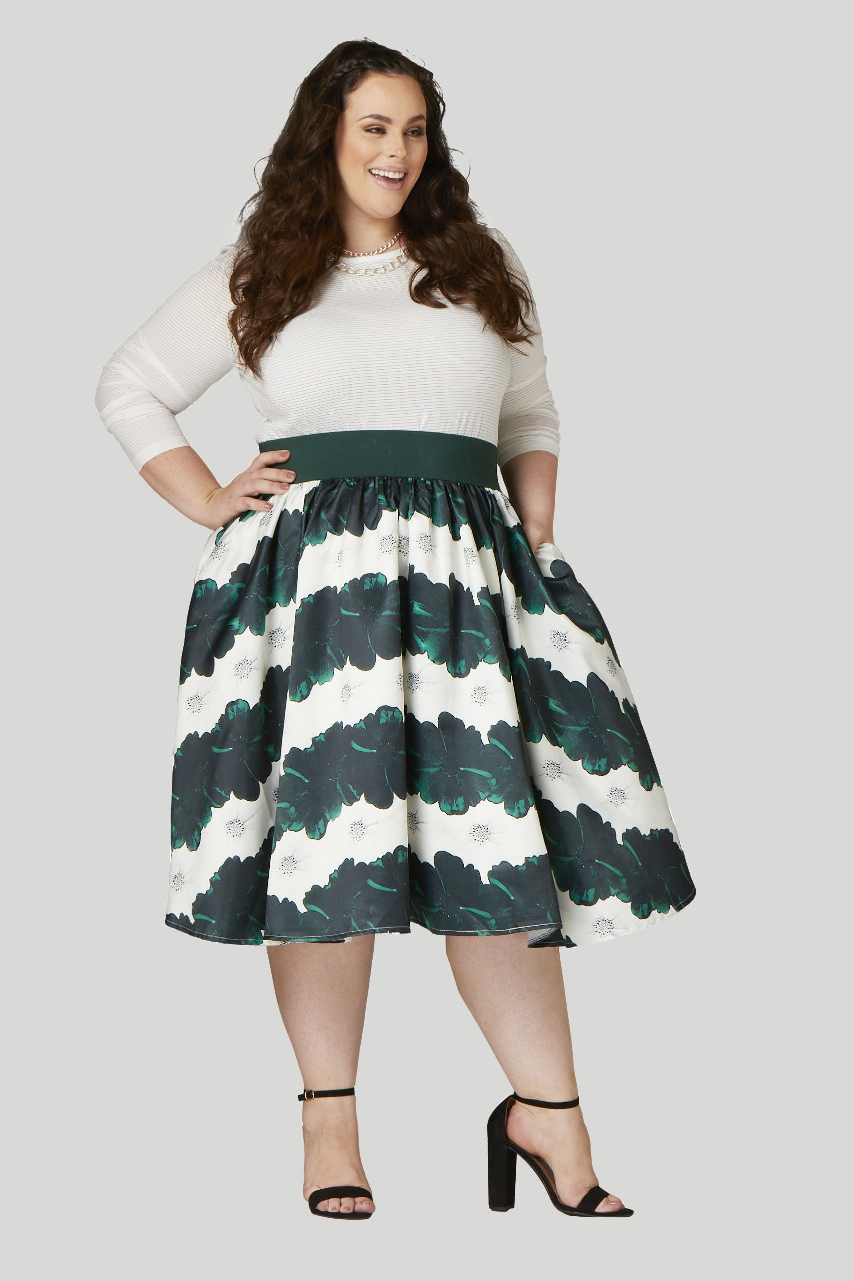 Soiree Midi Skirt - Emerald/White...