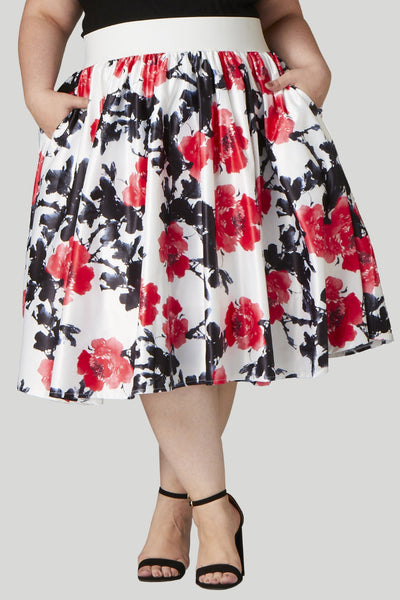 Soiree Midi Skirt - White/Red Floral