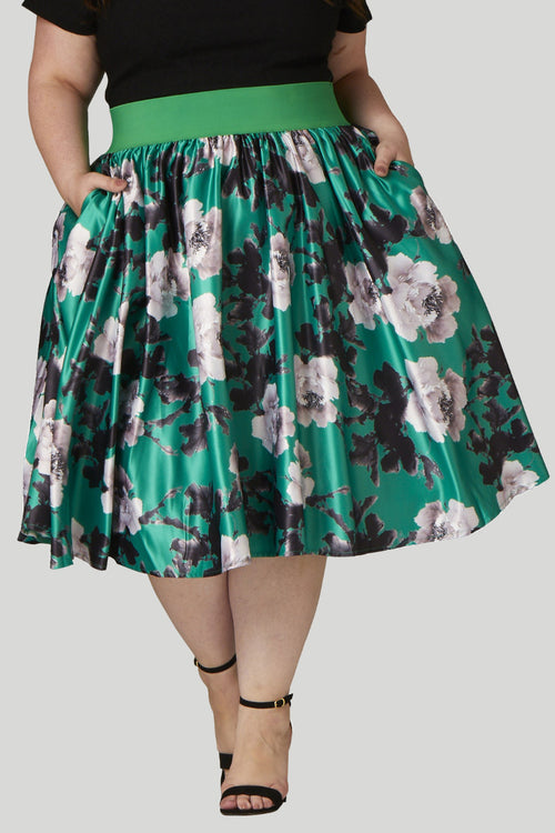 Soiree Midi Skirt - Green/Silver Floral
