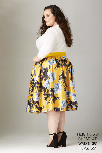 Plus Size Clothing for Women - Soiree Midi Skirt - Yellow/Silver Floral - Society+ - Society Plus - Buy Online Now! - 2