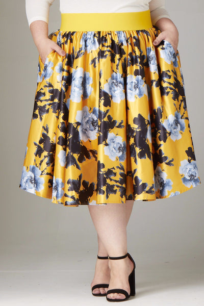 Plus Size Clothing for Women - Soiree Midi Skirt - Yellow/Silver Floral - Society+ - Society Plus - Buy Online Now! - 1