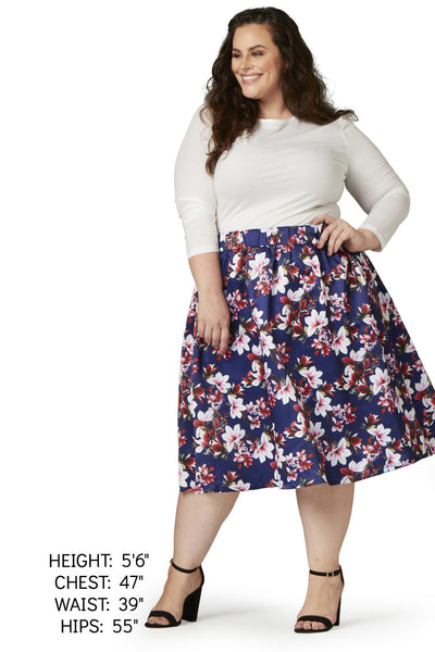 Plus Size Clothing for Women - Fleur de Fleur Skirt - Navy-Hold for Stitch Fix - Society+ - Society Plus - Buy Online Now! - 2