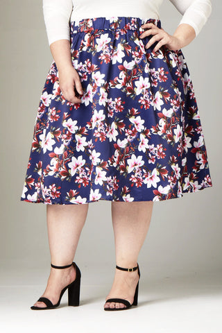 Plus Size Clothing for Women - Fleur de Fleur Skirt - Navy - Society+ - Society Plus - Buy Online Now! - 1