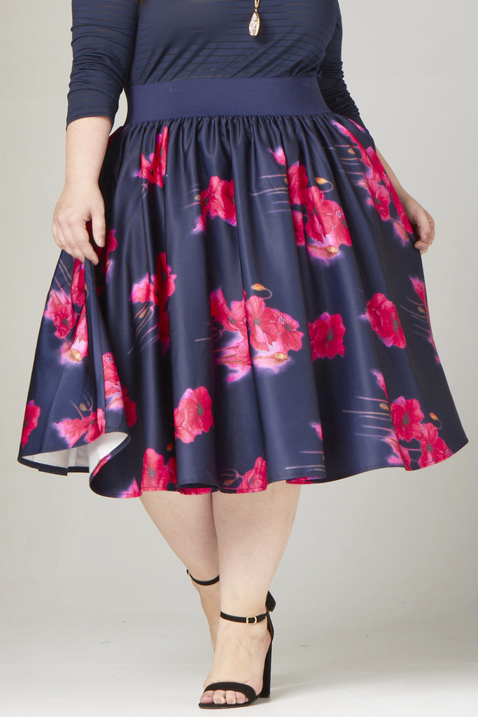 Plus Size Clothing for Women - Soiree Midi Skirt - Navy/Pink Floral - Society+ - Society Plus - Buy Online Now! - 1