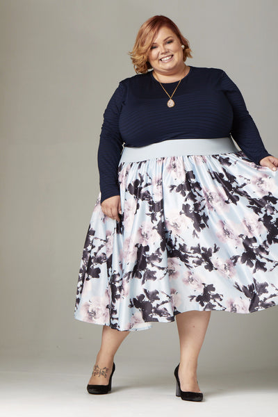 Plus Size Clothing for Women - Soiree Midi Skirt - Silver/Pink Floral - Society+ - Society Plus - Buy Online Now! - 2