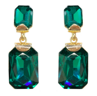Gemstone Post Earrings- Gold/Green