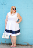 Plus Size Clothing for Women - Classic Stripe Skater Dress - White - Society+ - Society Plus - Buy Online Now! - 6