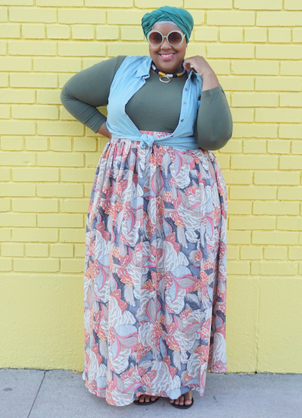 Plus Size Clothing for Women - Twirl Maxi Skirt with Pockets - Salmon - Society+ - Society Plus - Buy Online Now! - 4